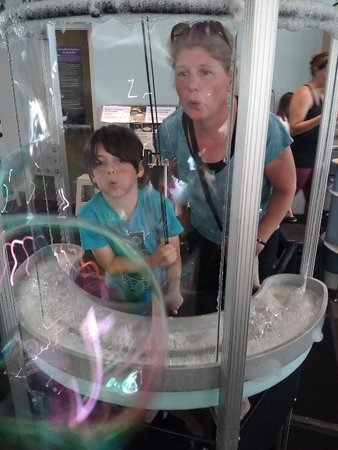 My son and I blowing gigantic bubbles at Explora in Albuquerque, NM~