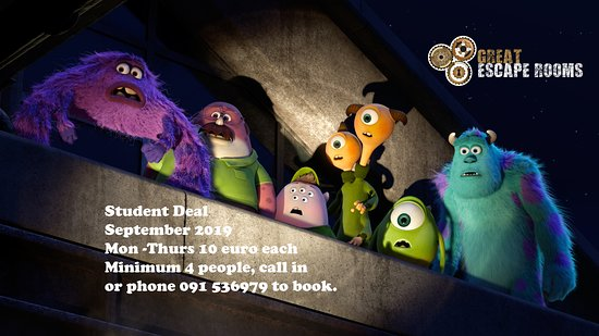 Student Deal September 2019 Mon -Thurs 10 euro each  Minimum 4 people, call in  or phone 091	536979 to book