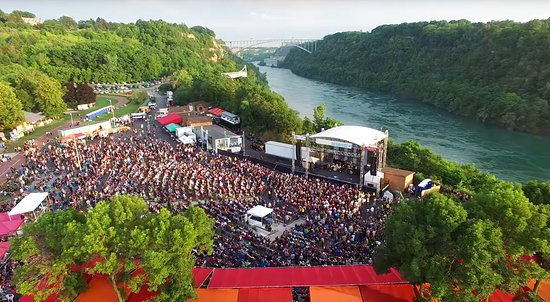 Lewiston, NY: Artpark Amphitheater on the scenic Niagara River Gorge aerial view Photo by Jordan Oscar