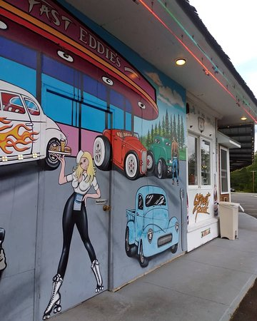 Winthrop, ME: Mural painted on the side of the building near restrooms