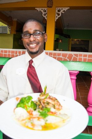Gros Islet Quarter, Saint Lucia: Creole Grill dish served with a smile!