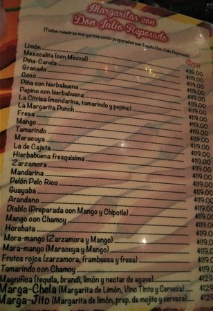 San Miguelito: margarita menu