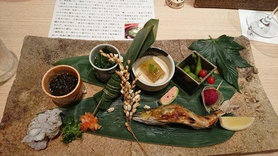 Nakanoshima Hanokawa: 4品目でメイン!わぁ~と声が出てしまう、何から食べようか楽しい。