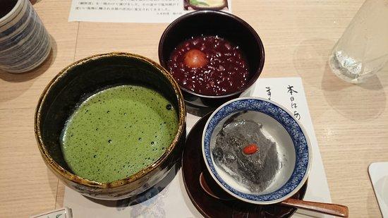 Nakanoshima Hanokawa: ホントに最後の(笑)デザートは限界超えても食べました!おぜんざいと黒ゴマプリン。お抹茶がうれしい。