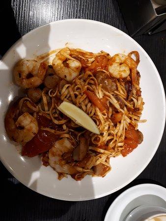 The Coffee Club Restaurant: Chili prawns and choriza linguine