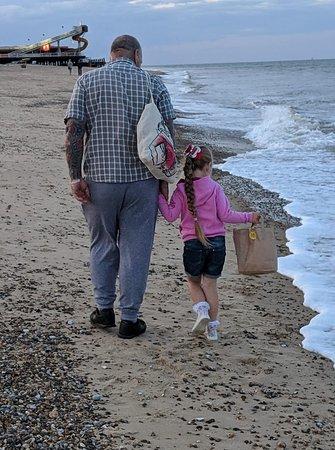 simple pleasure in walking along the beach