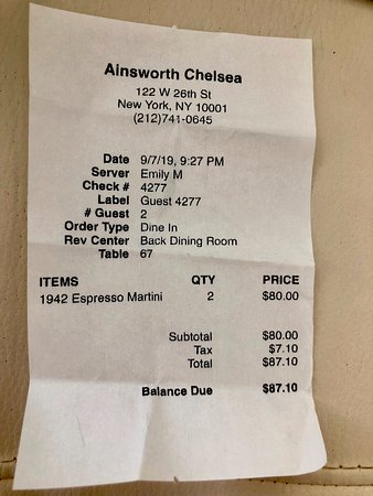 The Ainsworth: $40 a cocktail. triple  check the prices of everything before ordering!!!