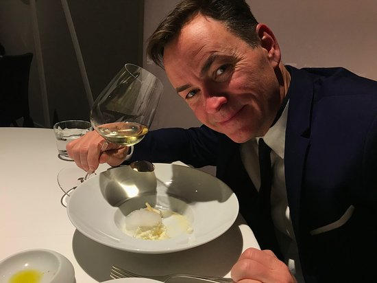 "Osteria Francescana: This photo will appear on my gravestone.  ""at his happiest""  5 Ages."