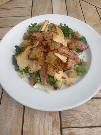 Chicken & Bacon Salad with Smashed Avocado, Honey & Mustard dressing and garlic croutons
