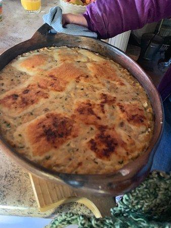 Isla Mocha, Chile: comiendo un rico pastel de jaiba