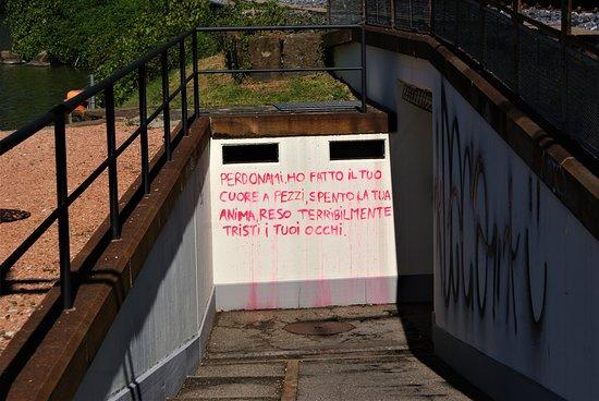 Mendrisiotto, Schweiz: Ciao, ora ..a parte la maleducazione di imbrattare i muri della comunità…..  Ma cosa gli avrà fatto di male a quella/quel povera/o ragazza/o per scrivere un appello così accorato?  Mah……..ah l'amore !