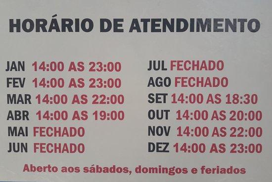 Sorveteria Seára: Nossos horarios de atendimento durante o ano.
