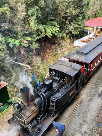 West Coast Wilderness Railway: Rack and Gorge from Queenstown: A photo from the bridge looking down on Loco 3