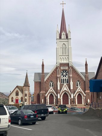 The church from the parking lot in front