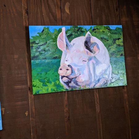 Lovely pig painting by owner's wife.