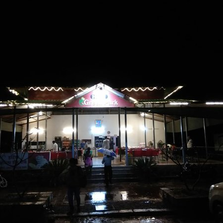 Hotel Ankita Green Park. It is located in Panhale on Mumbai Goa Highway Just after Rajapur. They really serve variety of food. You will get breakfast lunch dinner. Food quality and test is really good.