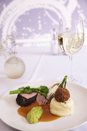 The Green Room Restaurant: Beef and Onion Blackened beef rump, beef fritter, caramelised onion, tenderstem broccoli, chive mashed potato, broccoli puree, beef jus