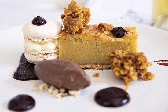 The Green Room Restaurant: Cherry Bakewell Macaroon, flapjack, cherry gel, dark chocolate ice cream