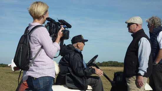 USAF Veteran Casey Bukowski, (aged 96 years) being filmed after visiting from the USA by the British Forces News Network during his visit to our gliding club at Ridgewell where he was based during WW2. The last time Casey flew from Ridgewell, he was shot down over Germany and captured after bailing out of his B17 bomber!