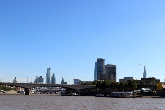 The Painted Hall and One Way journey on Uber Boat by Thames Clippers: A panorama at the start of the journey - St Paul's to the Shard