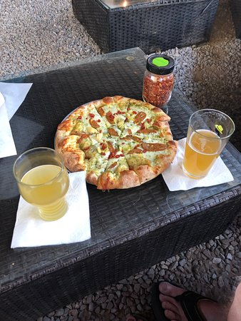 Cluck, cluck pizza and beers.