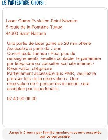 Laser Game Evolution Saint Nazaire: Lieu de l'offre Nuttela