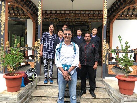 Drugyel Dzong, Bhutan: Srija & Freddy with Shiva and F&B team outside the dining area