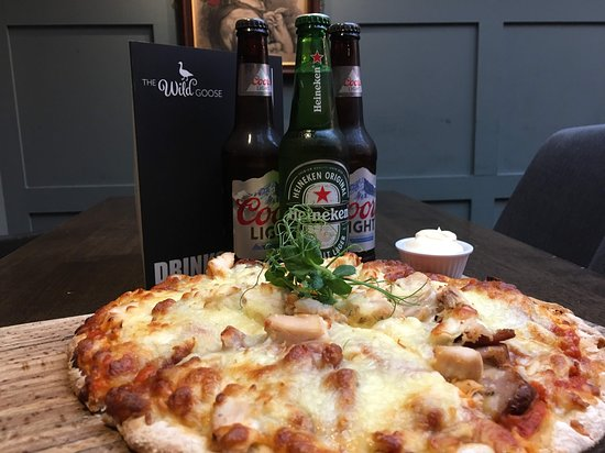 The Wild Goose: Mon - Thurs Pizza deal: any pizza and 3 bottles of beer €20.  Just add €2 for Goose Meat Feast