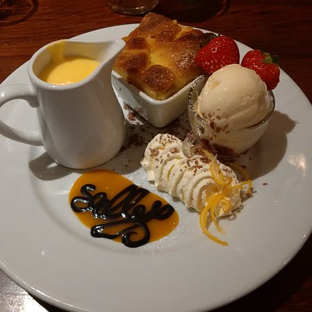 Bread and butter pudding at Salleys, Aughnacloy.