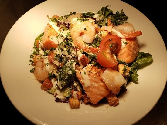 Caesar Salad with Salmon & Prawn