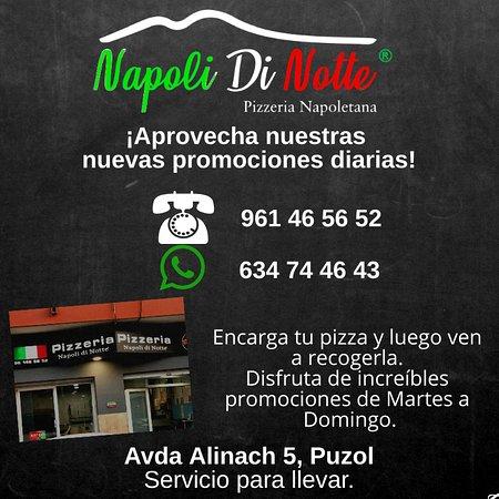 Pizzeria Napoli Di Notte: Promociones diarias, encarga tu pizza y luego la recoges.