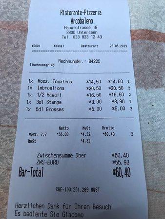 Arcobaleno: Our receipt