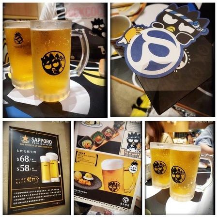 Sapporo Draft ($98/glass; comes with a brand new Bad Badtz-Maru X Chef Gudetama beer mug and coaster set)