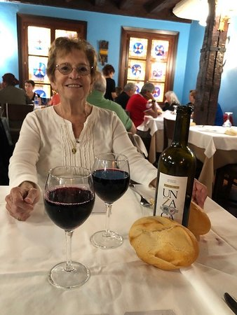 When we ordered a glass of wine, as tradition would have it, they brought the bottle- no charge! Just look at the bread...gluten free out the window for this lunch!