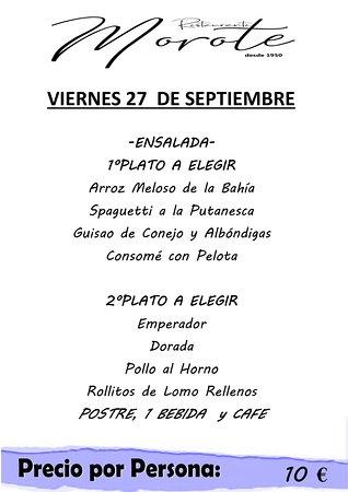 Callosa de Segura, Spanje: Menu of the day