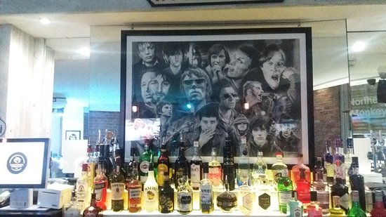 a great piece of art work behind the bar
