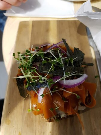 Circle Kitchen: carrot lox on seeded bread