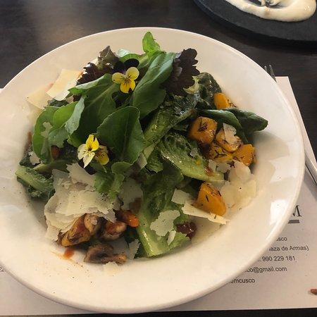 5 star lunch!   Pumpkin gnocchi with Gorgonzola crema. Roasted organic greens and salad.