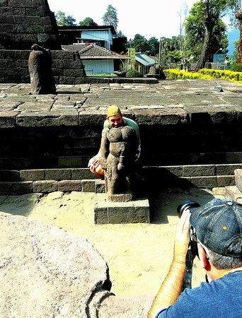 Unique statue on Sukuh temple, moment before Trekking programs.