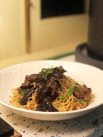 Truffle Mee  Capellini, Braised Shiitake, Black Fungus, Cremini Mushroom, Kombu