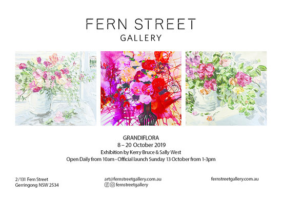 Fern Street Gallery next Exhibition with Kerry Bruce and Sally West will open on 8th October for 2 weeks.