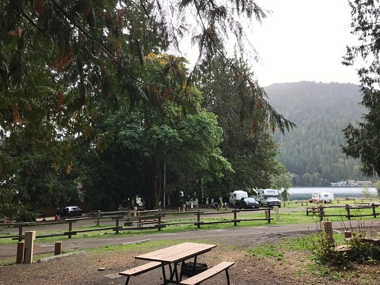 Lakeside cabins are to the left of the RVs