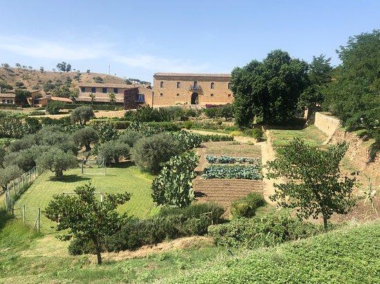 Vallelunga Pratameno, Italie : Das Weingut vom weitem gesehen.