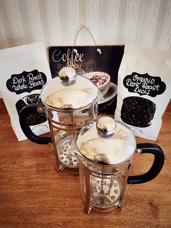 Crêperie de la Mer: Dark Roast Whole Bean Coffee and French Press For Sale