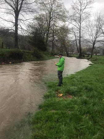 Blue Grass, VA: A cold and rainy day didn't stop Shane from fishing on his birthday.
