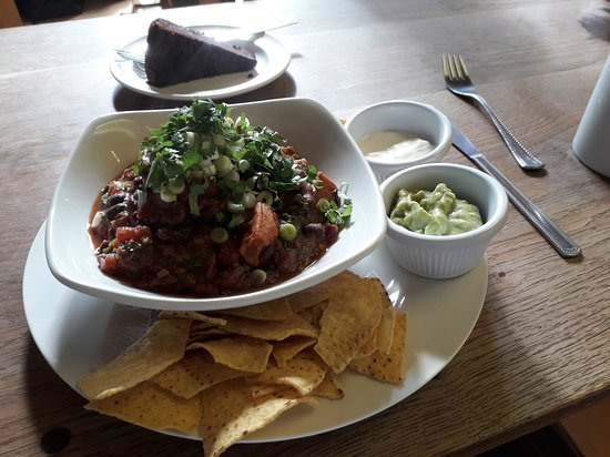 East Meon, UK: Bean and squash chilli