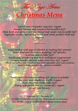 Thornford, UK: Christmas 2019 party menu