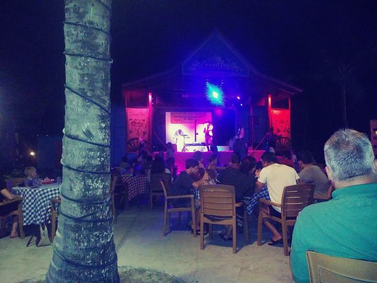 Coconut Bay Beach Resort & Spa: Country and Western night from the edge of the pool. St Lucian Cowboy on stage.