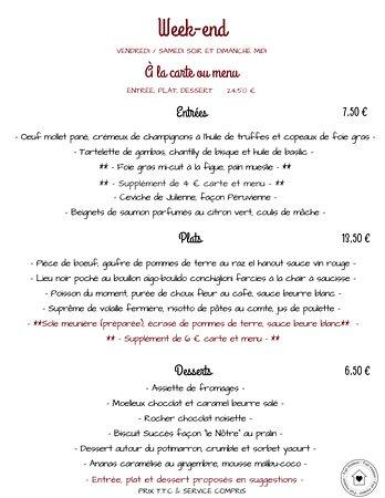 Prissac, Frankrike: menu