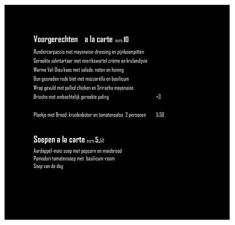 Wanroij, เนเธอร์แลนด์: Menukaart Voorgerechten